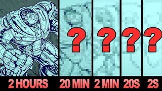 DRAWING the HULKBUSTER IN 2 HOURS, 20 MINUTES, 2 MINUTES, 20 SECONDS & 2 SECONDS!