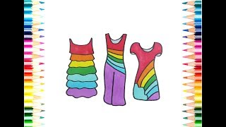 Learn to Draw 3 Beautiful Girls Dresses Drawing To Color For Kids l Painting Pages l Rainbow Colors