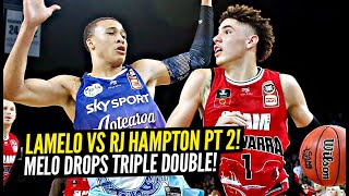 LaMelo Ball vs RJ Hampton Pt 2! LaMelo Goes OFF For 2nd TRIPLE DOUBLE In A ROW & Dunks ON Defender!!
