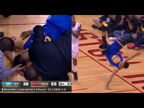 Stephen Curry's scary fall - head injury vs Rockets (Game 4)