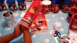 Preparativos aniversário tema Minnie. Lembrancinhas com latas de leite