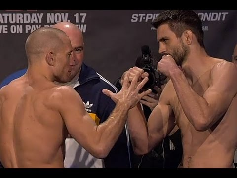 UFC 154 Georges StPierre and Carlos Condit Weigh In and Face Off Video