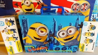 2015 Minions: Bob - Kevin - Stuart Big School Bag Set Unboxing Toys 迷你小兵