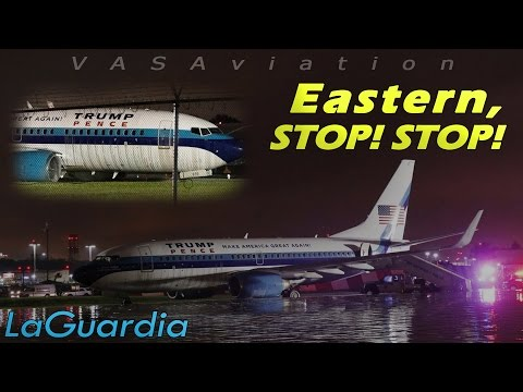 [REAL ATC] Eastern B737 (candidate Mike Pence) OFF RUNWAY at LaGuardia!
