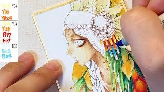 【民族風】インディアン風の女の子を描いてみた -Original illustration copic making-