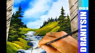 How to paint a sunny mountain landscape and hidden stream, acrylic painting demonstration, 063