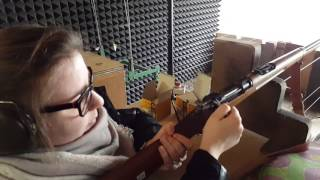 She shoots the M96 Schwedish Mauser the first time