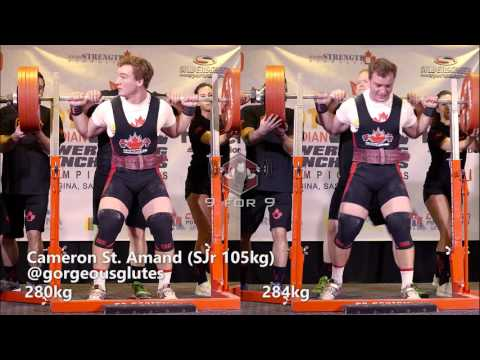 Cameron St. Amand 280kg and 284kg squats 2016 CPU Nationals