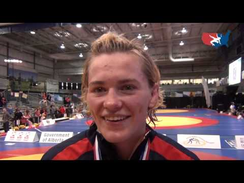 Elena Pirozhkova (USA) after winning 2012 Women &#039;s World title at 63 kg in Canada