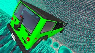 High Speed Car Jumps Into Colored Spikes #2 ( Spike Fall Map ) - BeamNG drive ( bmg )