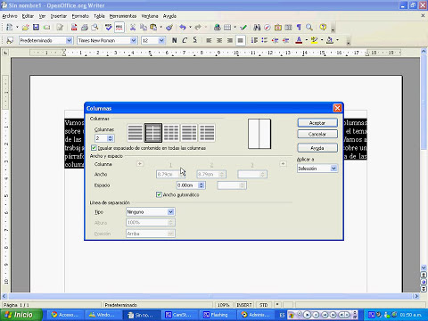 Tutorial columnas OpenOffice Writer
