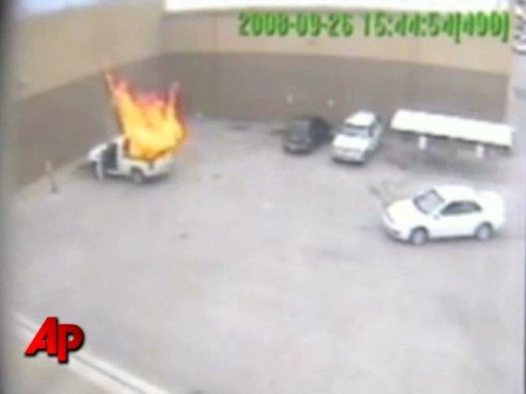 Raw Video: Propane Tank in Truck Explodes