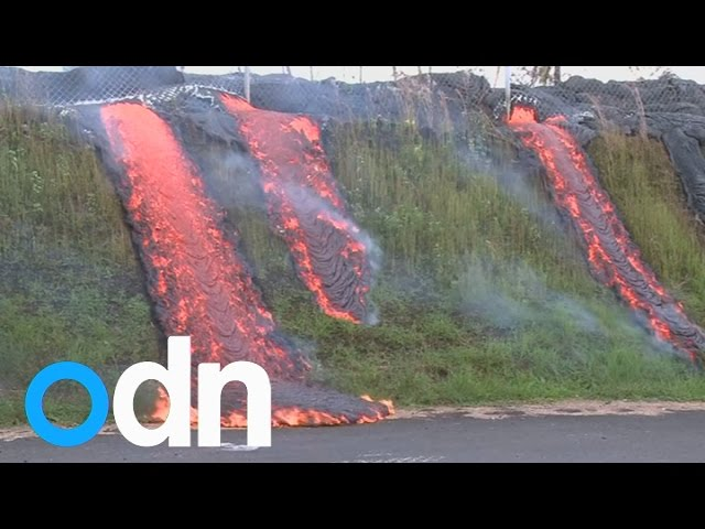 Incredible footage shows lava flow sweeping across Hawaii's Big Island