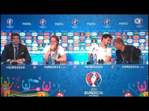 Mats Hummels gets asked if he is terrified of Will Grigg Pre Game Germany Northern Ireland