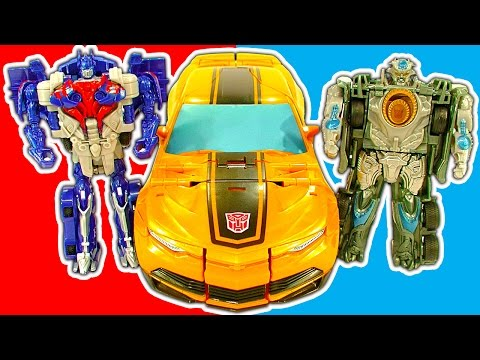 Transformers 1-step Amazing Robot Cars Trucks Mega Bumblebee Toy Review video