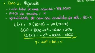 Definindo o lucro máximo - Caso 1 - Função quadrática - Matemática