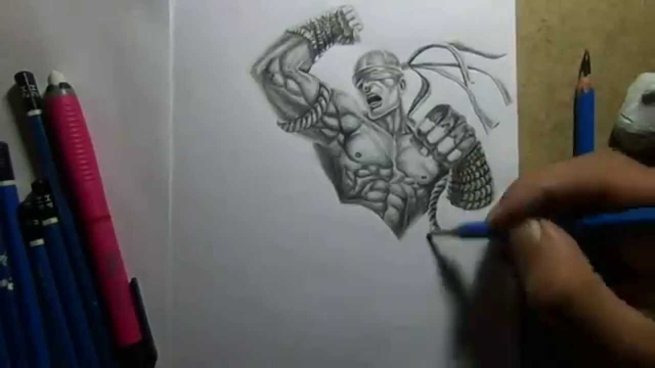 Pencil Drawing Muay Thai Lee Sin Youtube
