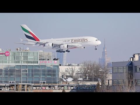 Airbus A380 Na Lotnisku Chopina (Warszawa/EPWA) 10.02.2017 (4K)