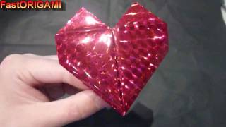 How To Make Origami Heart - Fast Beating Romantic Loving ハートの折り紙折り方 De Corazon