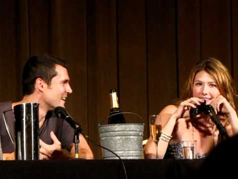 Nathan Fillion calls Jewel Staite during a panel at Dragon*Con 2010