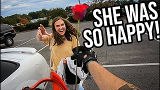 Giving girls FLOWERS on my MOTORCYCLE!