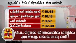 பெட்ரோல் விலையில் மாநில அரசுக்கு எவ்வளவு வரி? | Thanthi TV