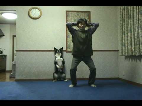 息ピッタリ!!仲良くスクワットをする男性と犬