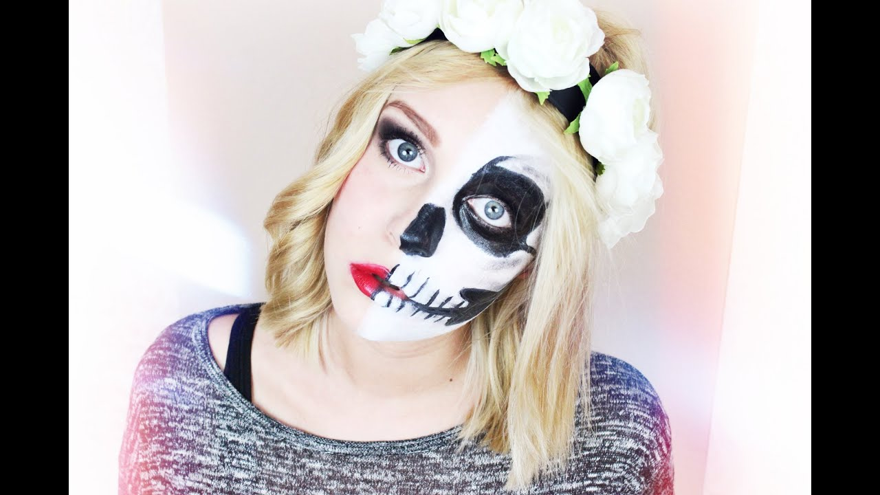 lady vs skull halloween make up tutorial dagi bee youtube. Black Bedroom Furniture Sets. Home Design Ideas
