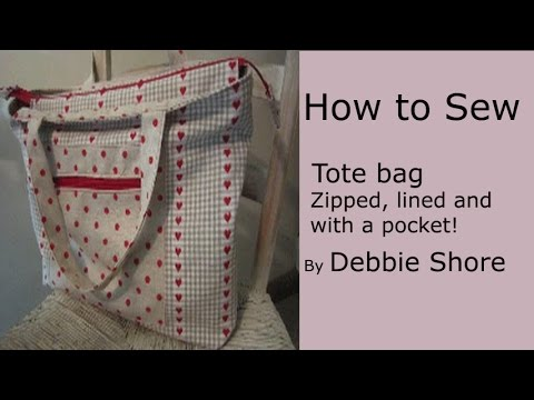 A zippered. lined tote bag for you to sew by Debbie Shore