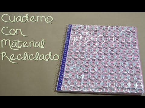 Adornar cuaderno con material reciclado