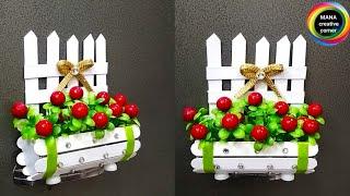 How to make Flower basket show piece from ice cream sticks#popsicle sticks craft idea#art & craft
