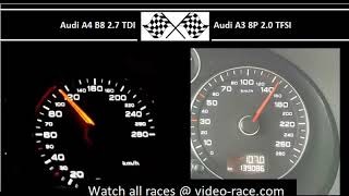 Audi A4 B8 2.7 TDI VS. Audi A3 8P 2.0 TFSI - Acceleration 0-100km/h
