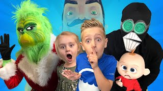 The Grinch, Screenslaver & Hello Neighbor in Real Life! KIDCITY Family Games 2018 Countdown!