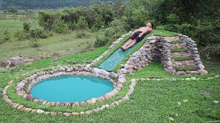 Unbelievable! A forest man build water slide using only primitive tools and materials