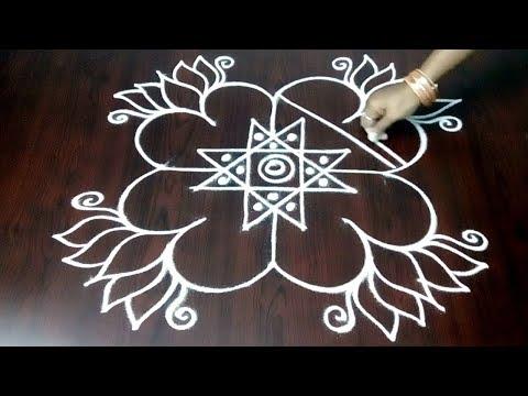 New 4 x 2 x 2 Design With Lotus Flowers  || Rangoli Kolam With Simple Lotus Design || Fashion World