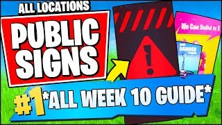 VISIT DIFFERENT PUBLIC SERVICE ANNOUNCEMENT SIGNS *ALL LOCATIONS* (Fortnite Week 10 Challenges)