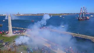 USS Constitution and Fort Independence exchange 21 Gun Salutes.