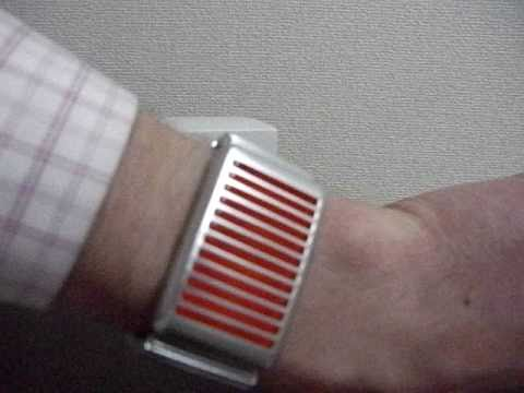 Kisai Denshoku Silver Orange LED Watch From Tokyoflash Japan