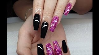 Long Black Nails with Glitter [GEL NAILS]
