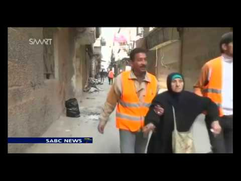 Aid received at Palestinian refugee camp of Yarmouk in Damascus
