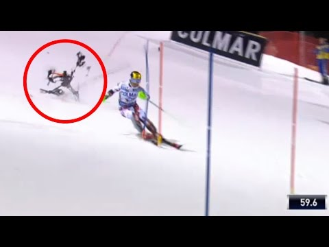 Drone almost hits Marcel Hirscher