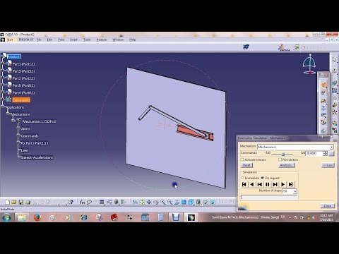 Four bar link mechanism animation in CATIA