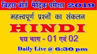 Hindi pad Bhag | Bihar board examination 2019|| VVI objective question