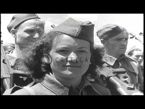 The Yugoslav Partisans being reviewed by Marshal Tito in Yugoslavia during World ...HD Stock Footage