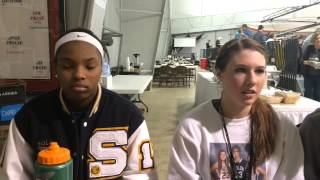 Solon's Alexis Stover, Jordan and Dee Bekelja on the 57-53 win against No. 1 Mason