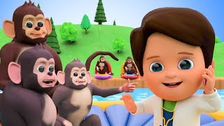 Five Little Monkeys Jumping On The Bed Nursery Rhymes In Swimming Pool