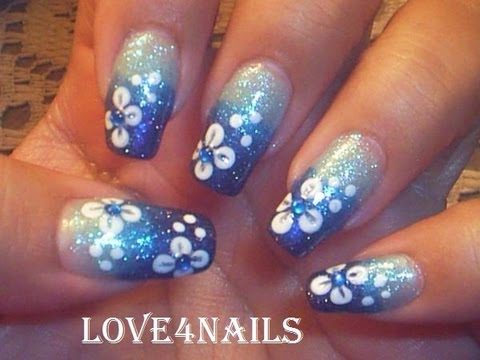 Hawaii Flower Blue Ombre Gradient Nail Art Design Tutorial Video