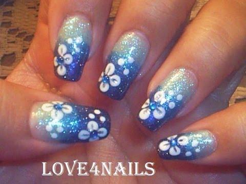 hawaii flower blue ombre gradient nail art design tutorial