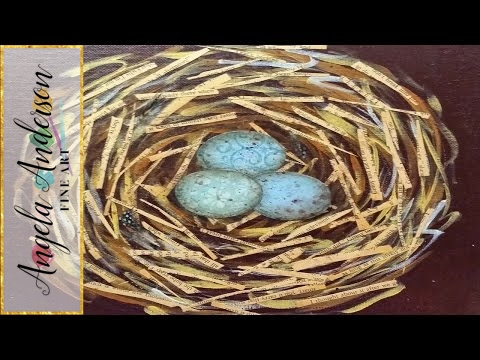 Mixed Media Bird Nest Tutorial - Free Beginner Acrylic Painting Lesson video