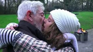 YOUNG GIRLS KISSING OLD MAN PART 2